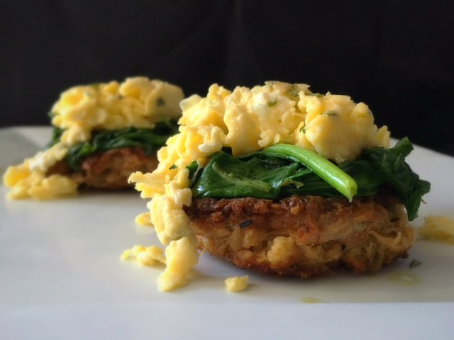 Recipe for Spicy Crab Cakes with sauteed garlic spinach and chive scrambled eggs